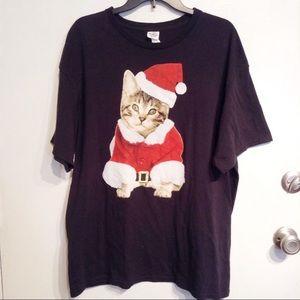 Christmas Santa Cat Holiday Tee Shirt